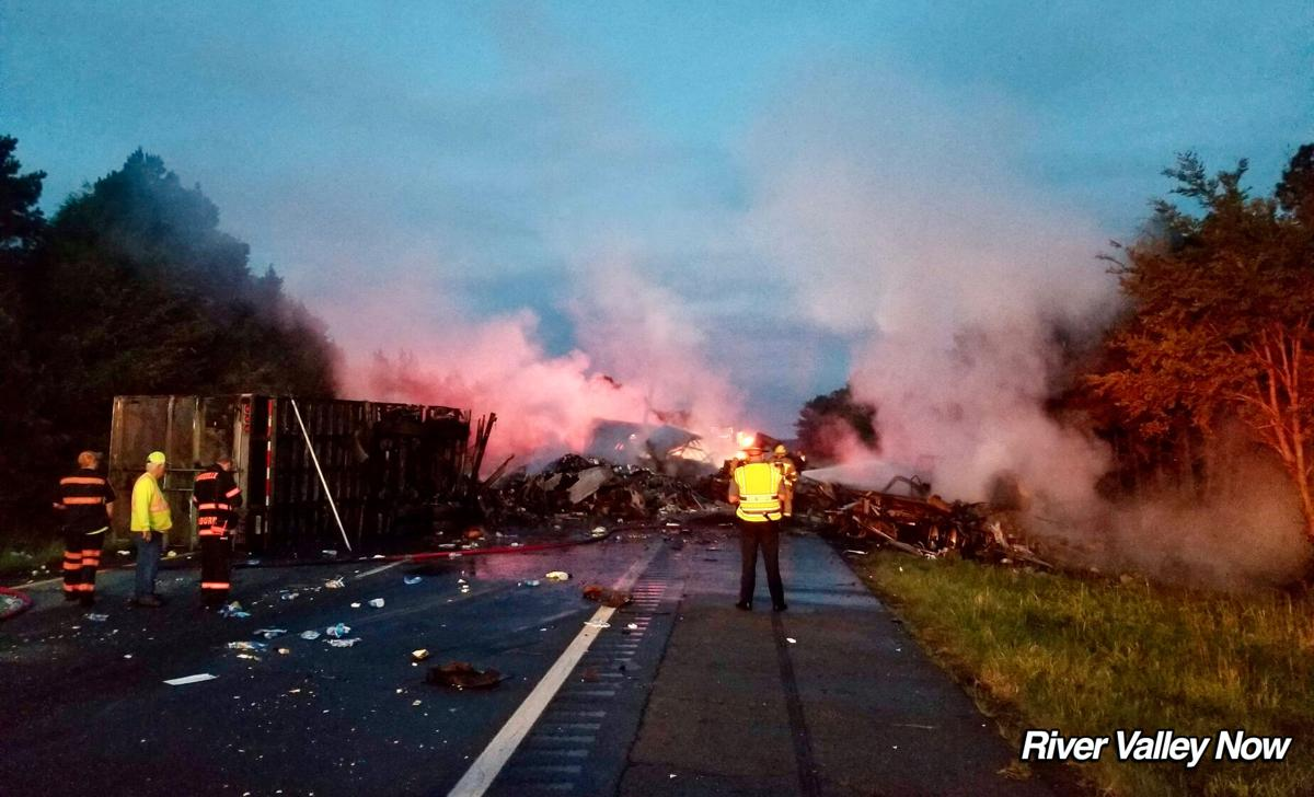 UPDATE: Interstate 40 remains closed at the 74 mile marker westbound after fiery semi crash