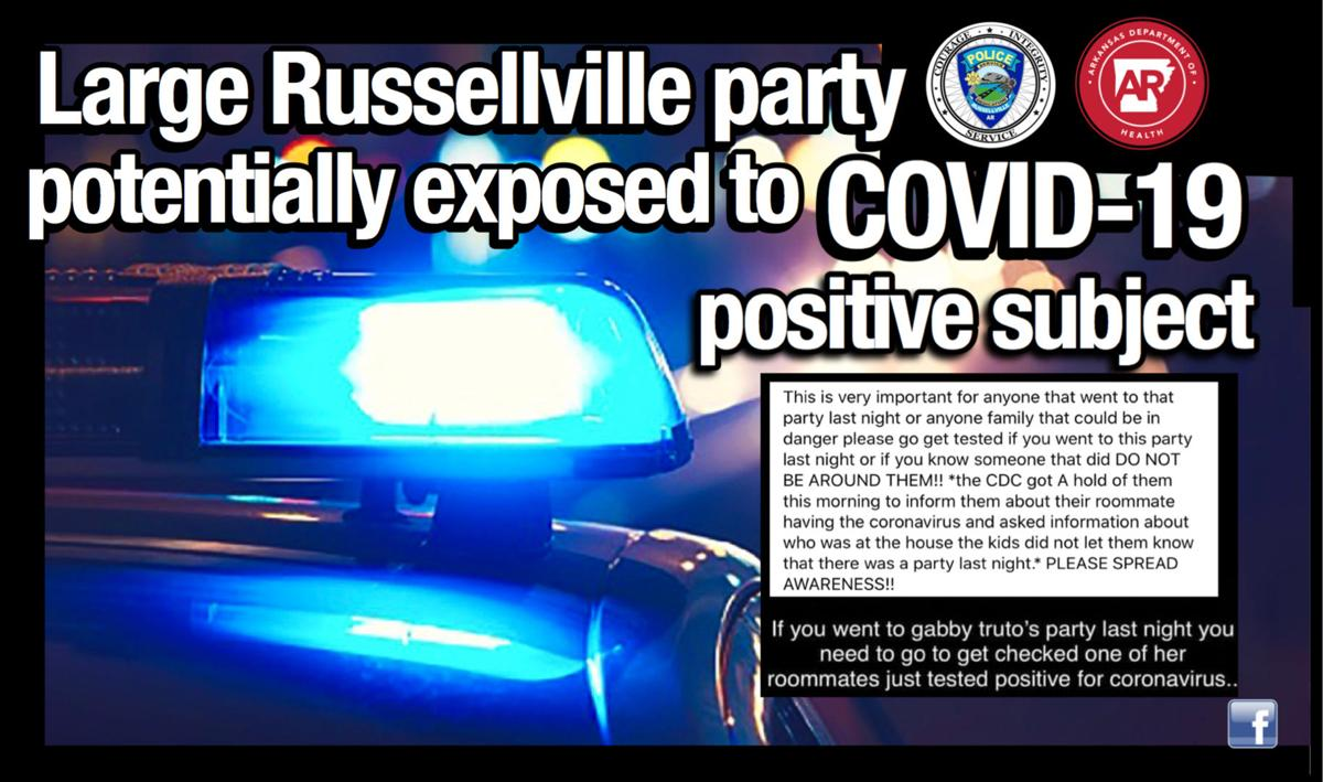 Large Russellville party potentially exposed to COVID-19 positive subject