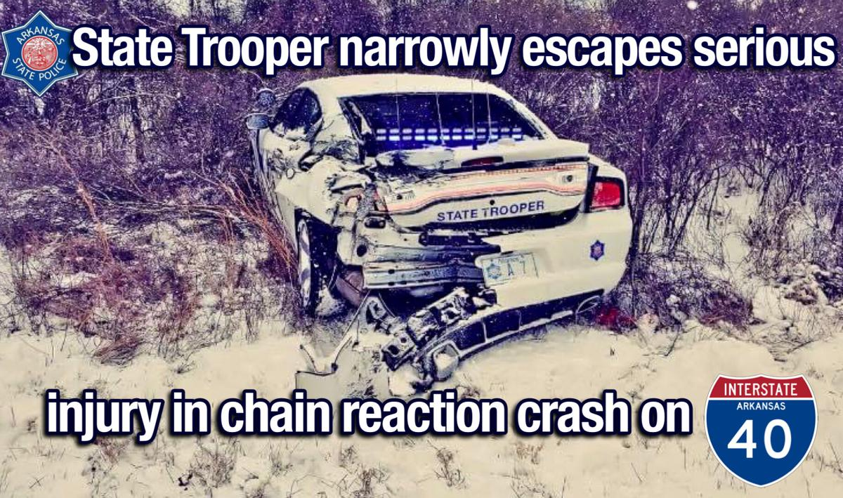 Interstate crash leads to chain reaction; State Trooper narrowly escapes serious injury
