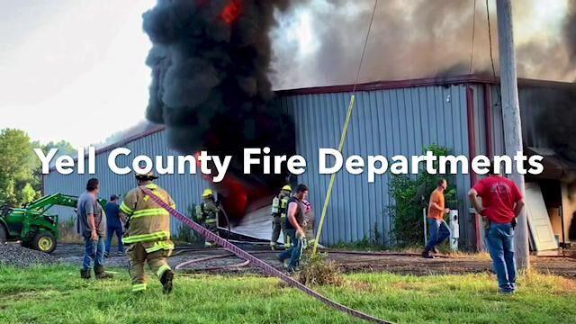 Video: Yell County firefighters battle shop blaze on Galla Rock Road