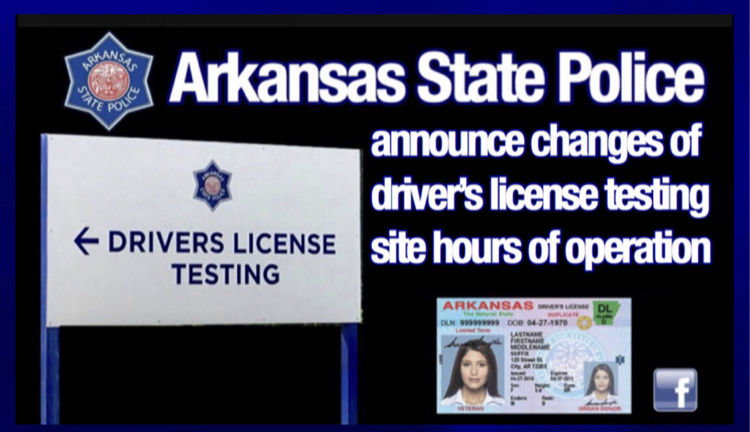 Arkansas State Police reminds public of driver's license testing site closures/changes through November