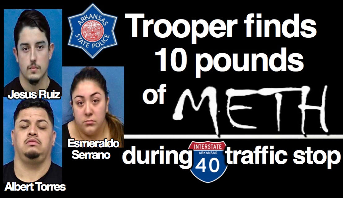 Arkansas State Police discover 10 pounds meth during I-40 traffic stop