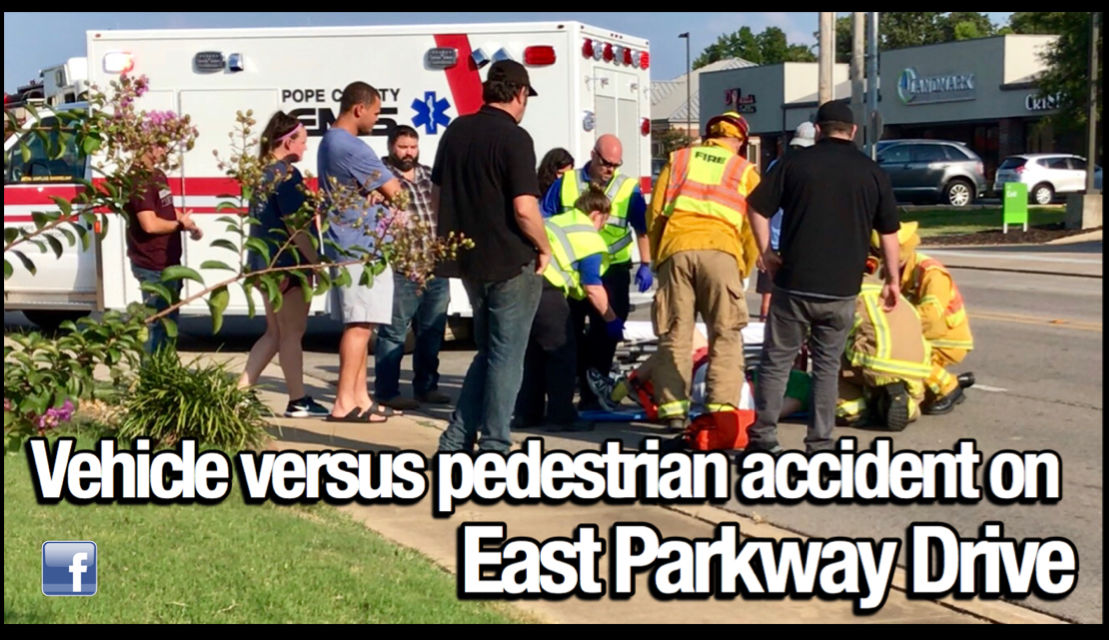 RPD, RFD and Pope County EMS respond to vehicle versus pedestrian accident on East Parkway Drive