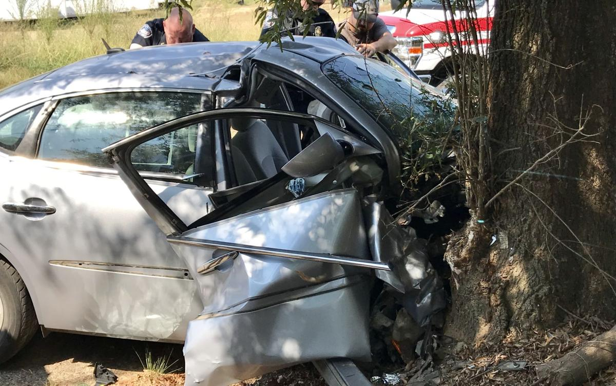 Collision with tree results in injuries and driver's arrest