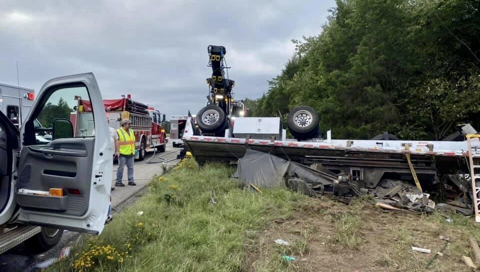 Third crash on I-40 involving 18-wheelers injures two
