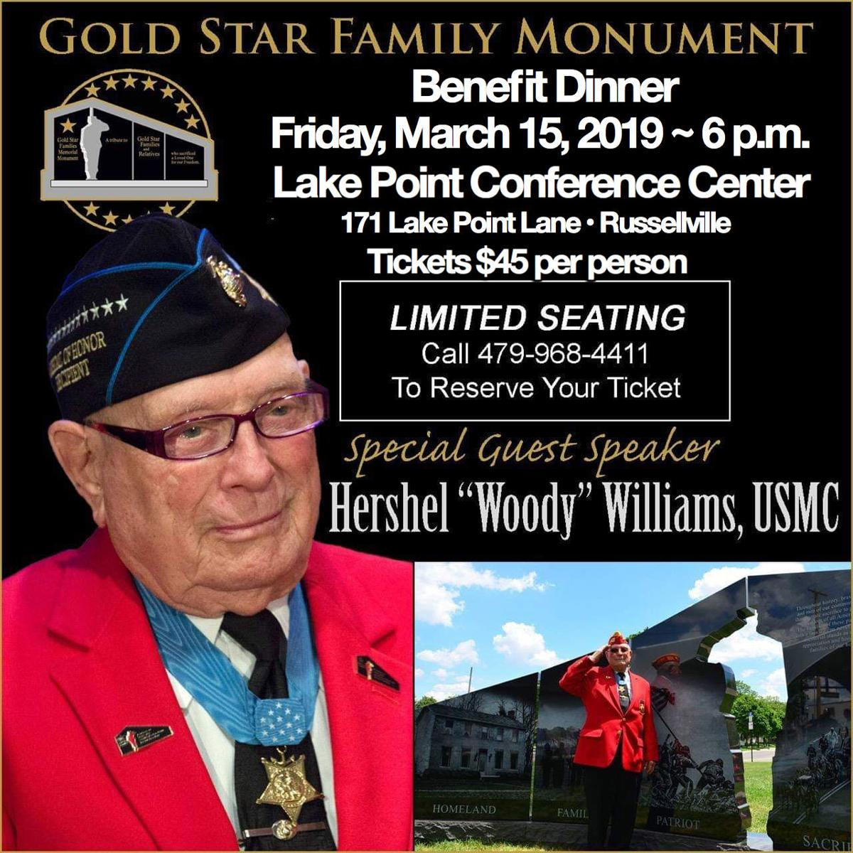 """Dinner with Hershall """"Woody"""" Williams, USMC and 'Gold Star Families Memorial Monument'"""