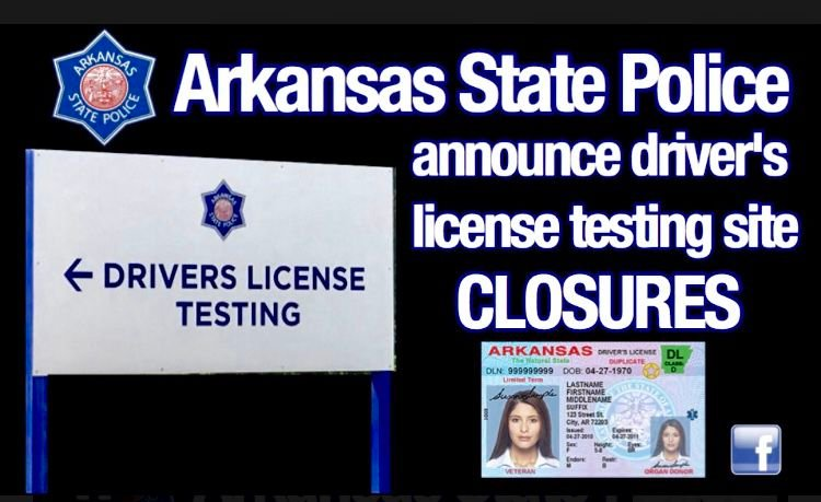 Arkansas State Police announce driver's license testing site closure dates‪ for November‬