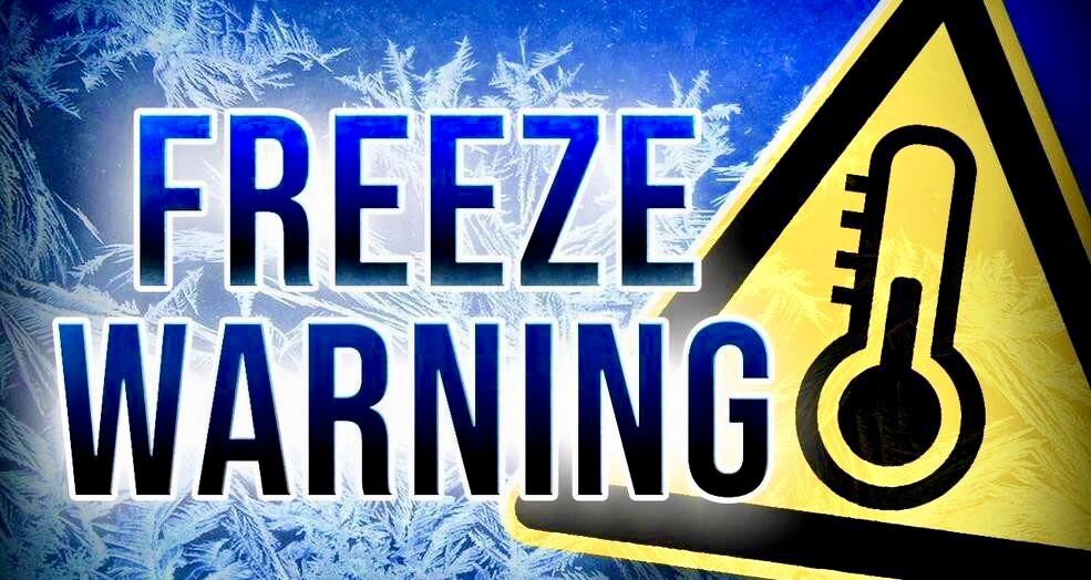 Freeze Warning in effect from 1 a.m. to 9 a.m. Wednesday