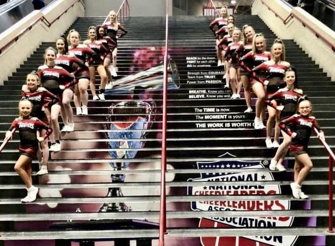 Arkansas Twisters All-Stars Team Storm competes at the NCA All-Star National Championship in Dallas, Texas