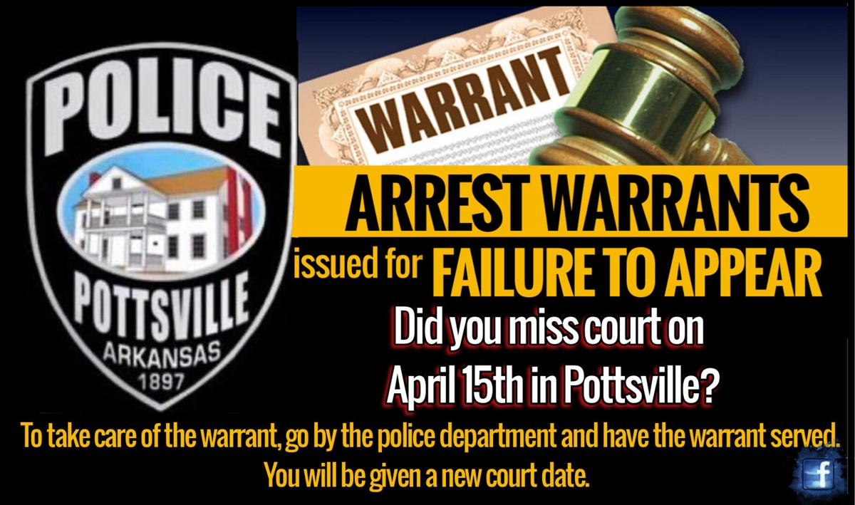 Pottsville Police Department issues warrants for Failure to Appear