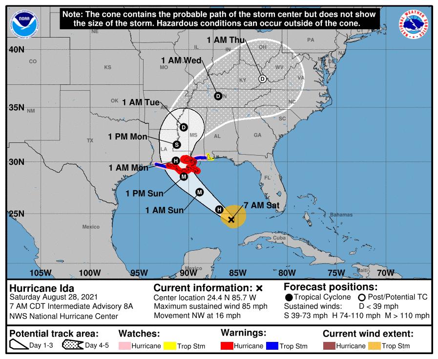Hurricane Ida forecast track 082821