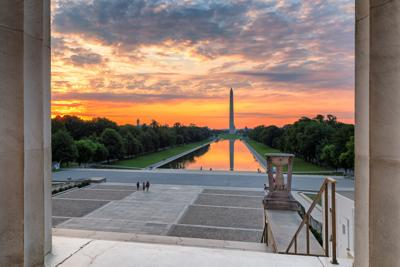 Washington Monument at Sunrise by Lincoln Memorial