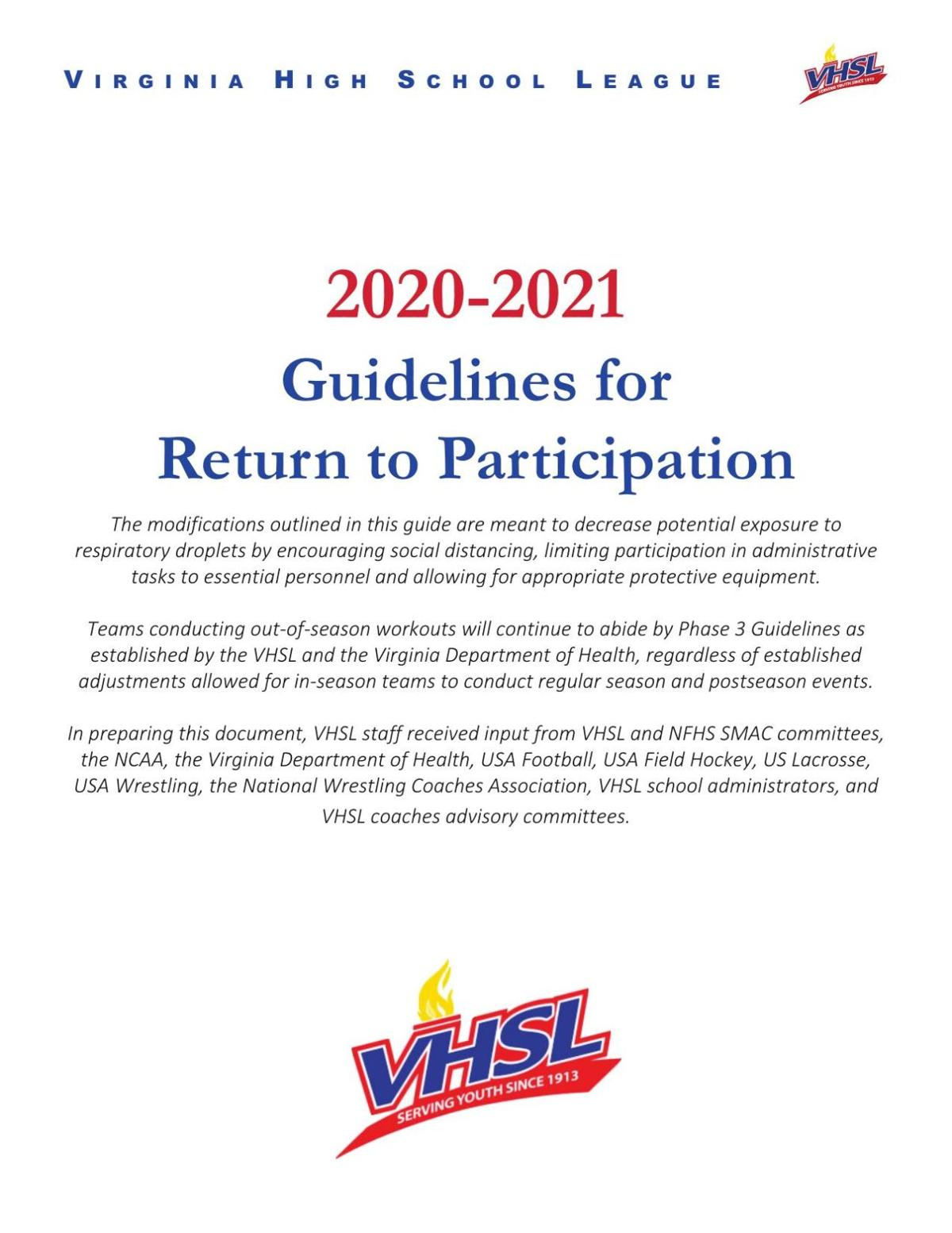 VHSL Recommendations to Return to Play 2020-21