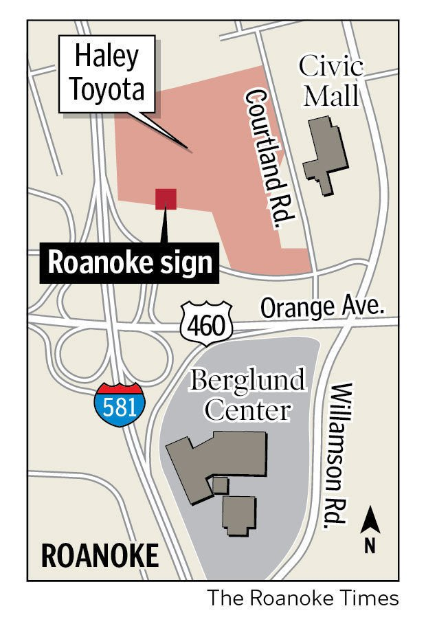 Casey: Dealershipu0027s New ROANOKE Sign Looms Large Along I 581 | News |  Roanoke.com