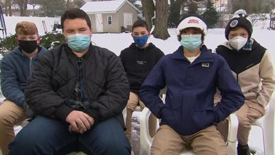 Five high school freshmen are being called heroes for saving two children from an icy pond