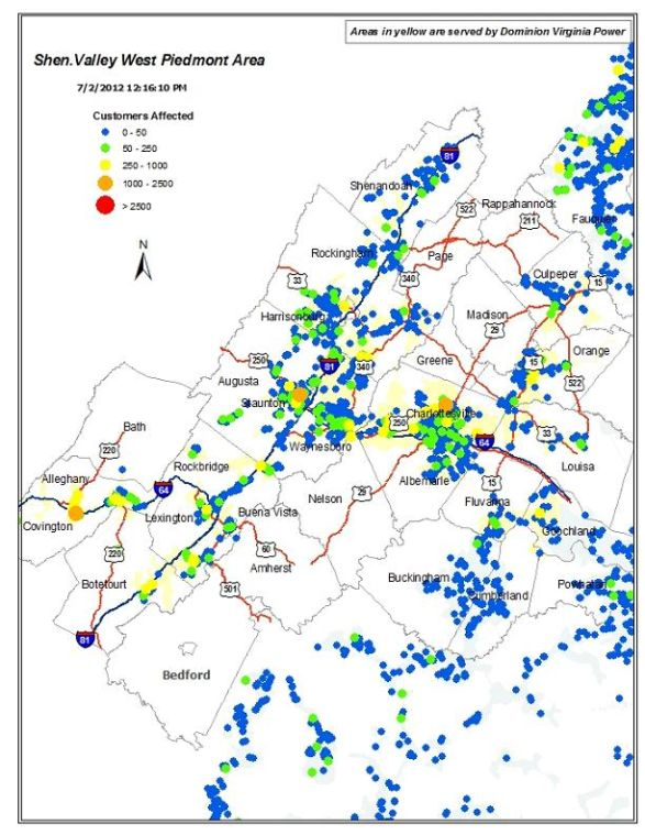 Rappahannock Power Outage Map.Map Where Dominion Power Is Working To Restore Power In Botetourt