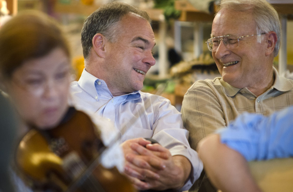 Tim Kaine chats