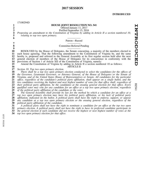 Sam Rasoul's proposed constitutional amendment