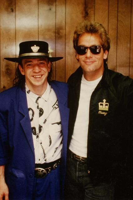 Stevie Ray Vaughan (left) and Huey Lewis