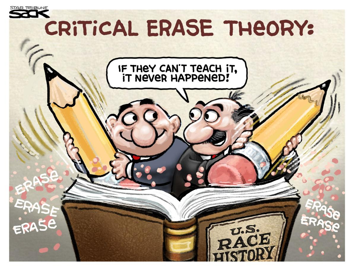 Title:  Critical Erase Theory.  Image: Two men wieding erasers on a volume labeled