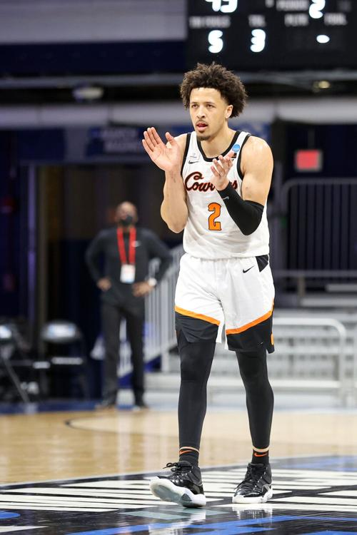 Oklahoma State's Cade Cunningham during an NCAA Tournament game against Oregon State at Hinkle Fieldhouse in Indianapolis on March 21, 2021.