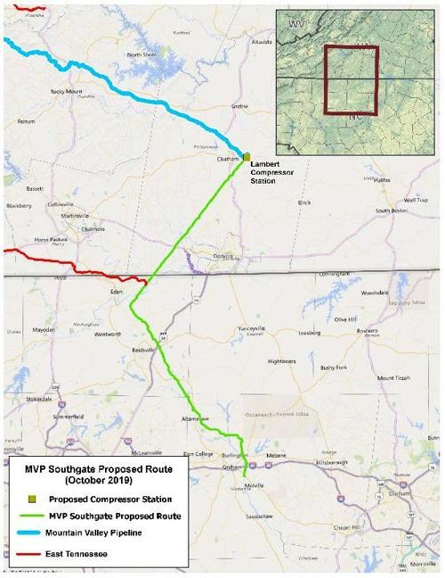 Mountain Valley Pipeline Southgate Extension map 082120