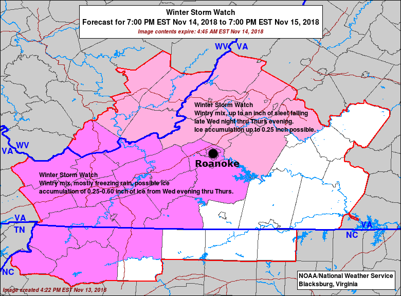 Roanoke Zip Code Map.Winter Storm Watch Issued Thursday Likely Gets Off To Icy Start