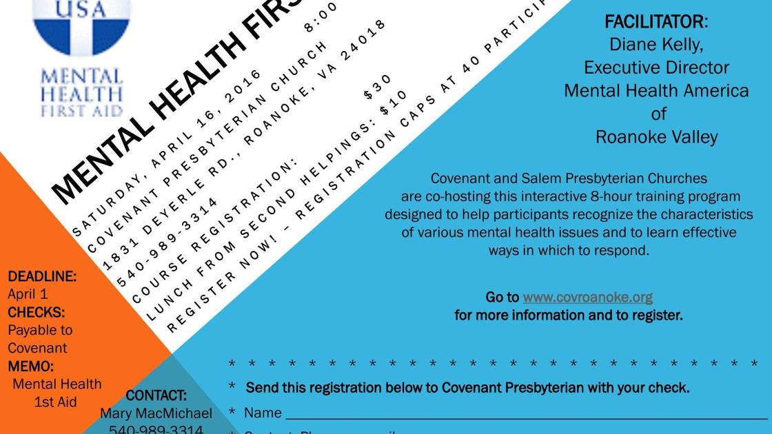 Mental Health First Aid' course to be held at Covenant