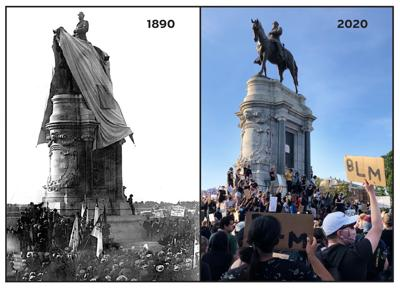 Lee monument - 1890 and 2020