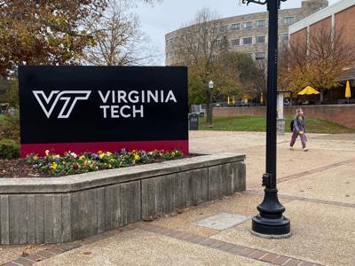 Virginia Tech sign campus stock