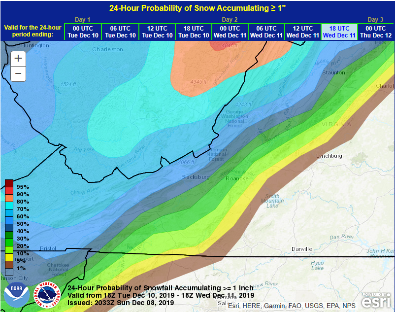 Snowfall map Wed PM 120819