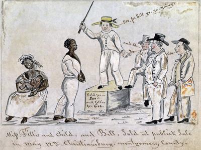 Lewis Miller sketch of Slave Auction Christiansburg