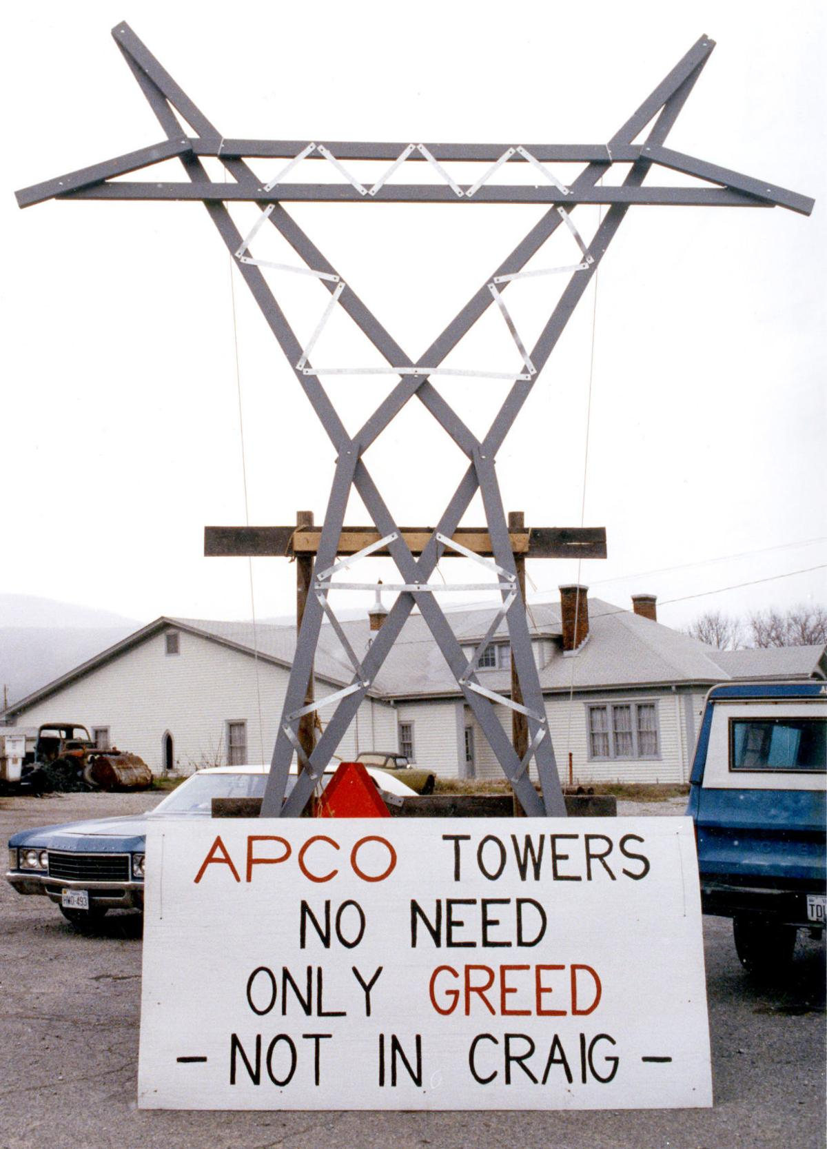 New Castle protest of  Appalachian Power's proposal to build a new high voltage line