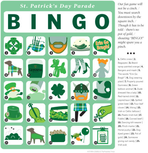 photograph relating to St Patrick's Day Bingo Printable known as Participate in St. Patricks Working day Parade Bingo with our printable bingo