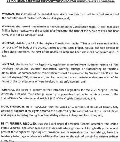 Botetourt Second Amendment resolution 112619