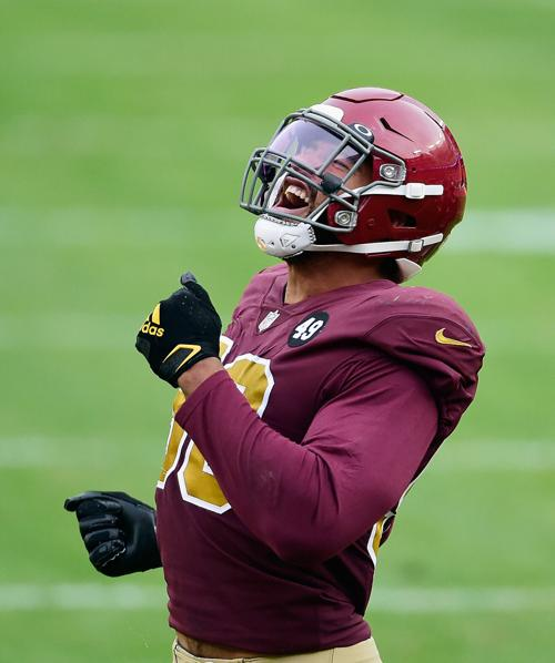 Montez Sweat of the Washington Football Team celebrates during action against the Cincinnati Bengals at FedExField on November 22, 2020 in Landover, Md..