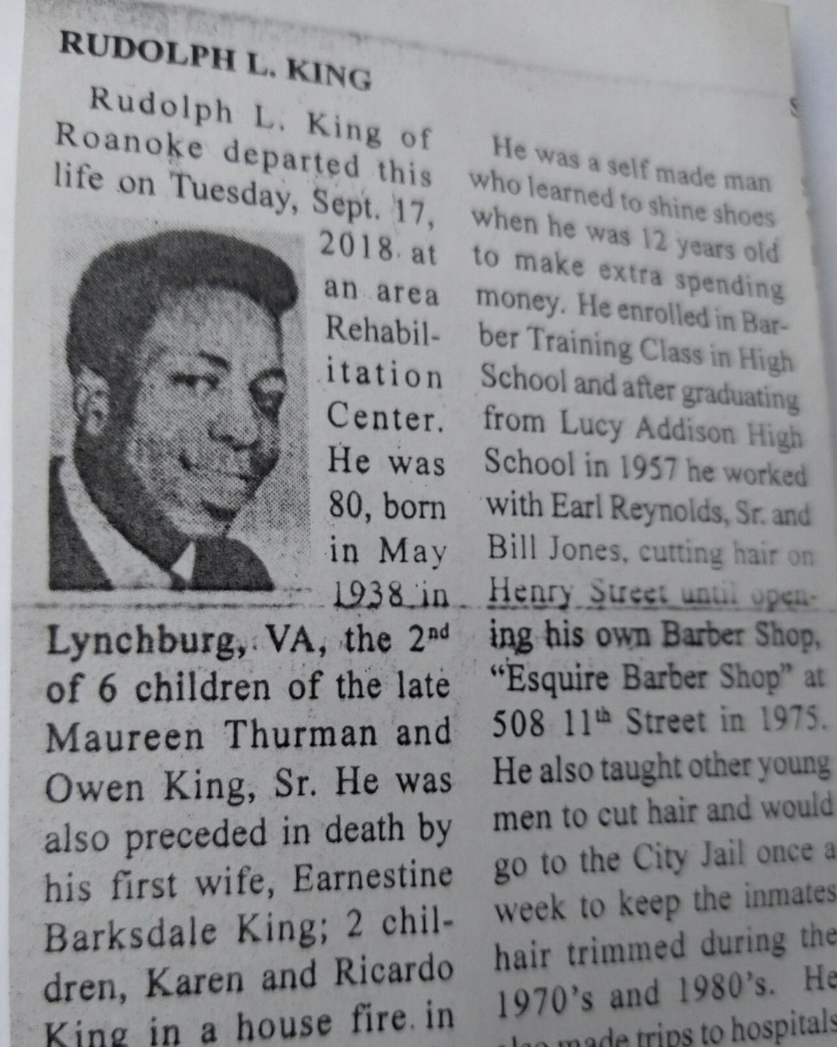 Rudolph King obit courtesy of Ann King