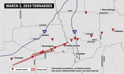 Tornado tracking map