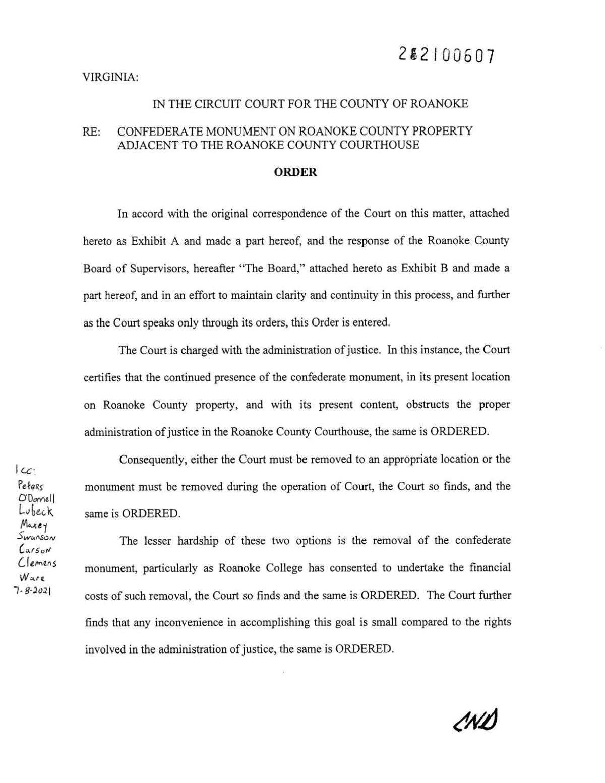 Dorsey's Confederate Monument Order