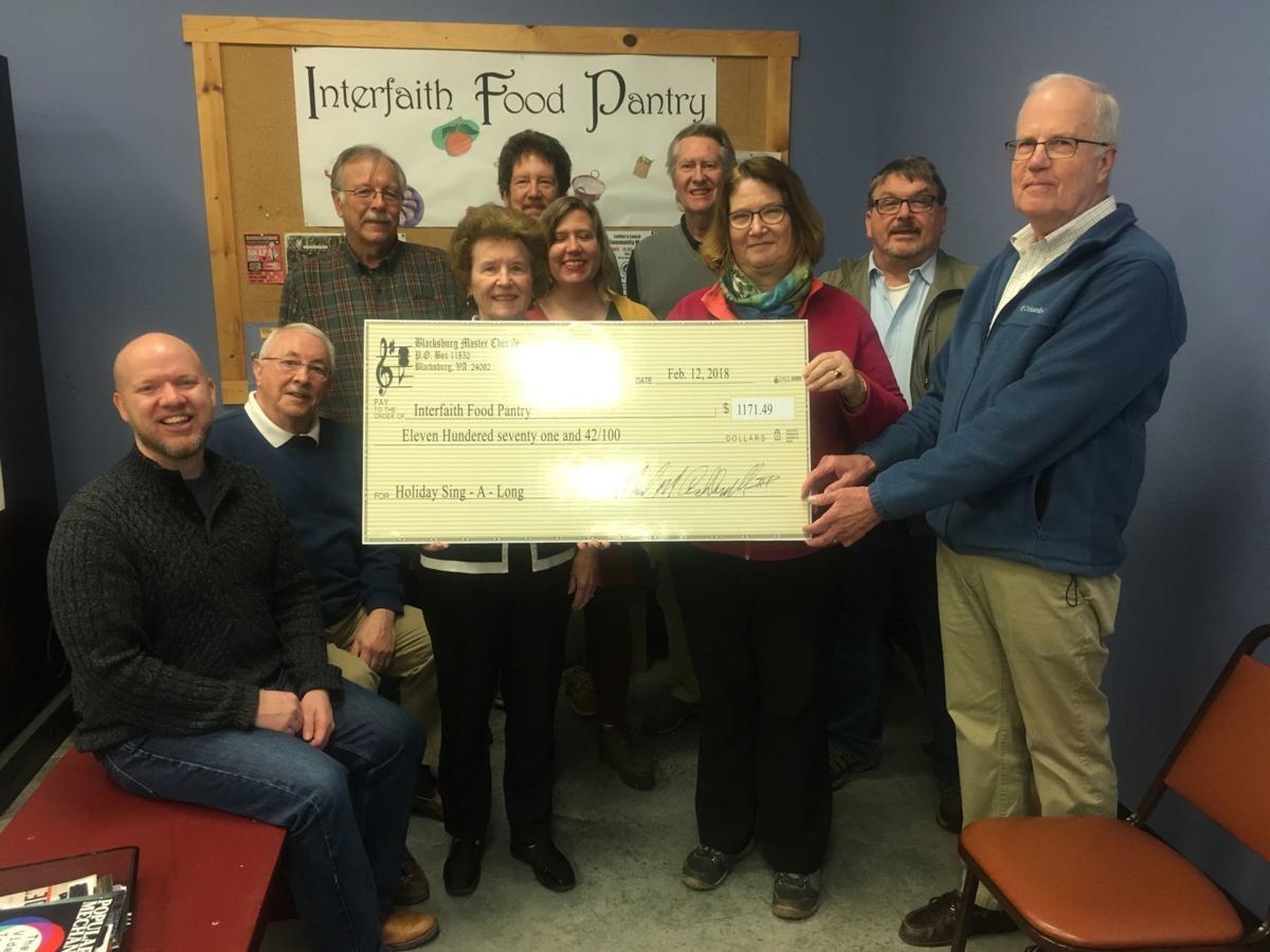 Blacksburg master chorale makes donation to food pantry for Interfaith food pantry blacksburg