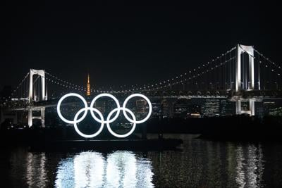 The Olympic Rings are pictured on Jan. 22, 2021 in Tokyo, Japan.