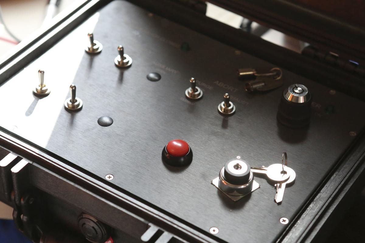 Red detonation button ignites gases in shock tube