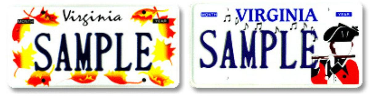 sample Virginia specialty license tags