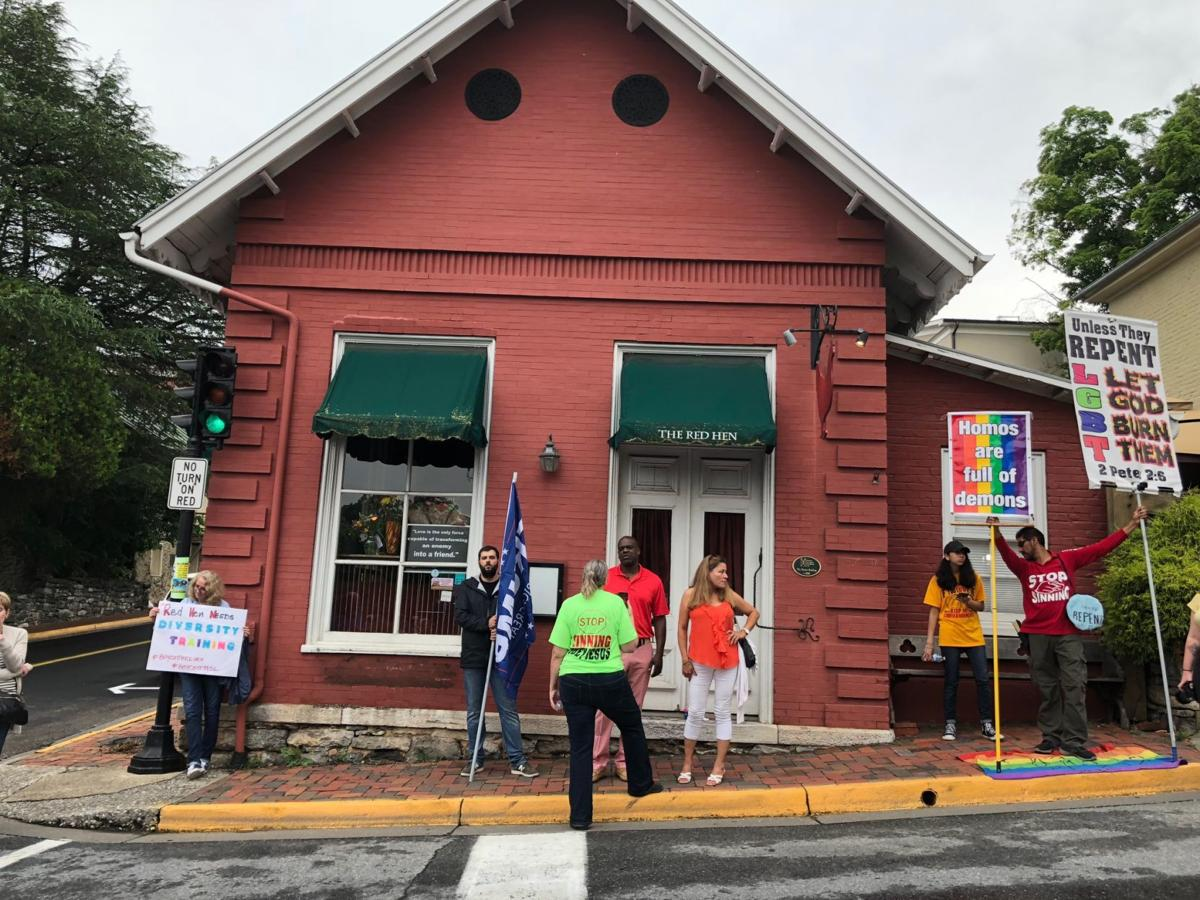 Protesters Gather Outside Red Hen Restaurant As Owner Steps