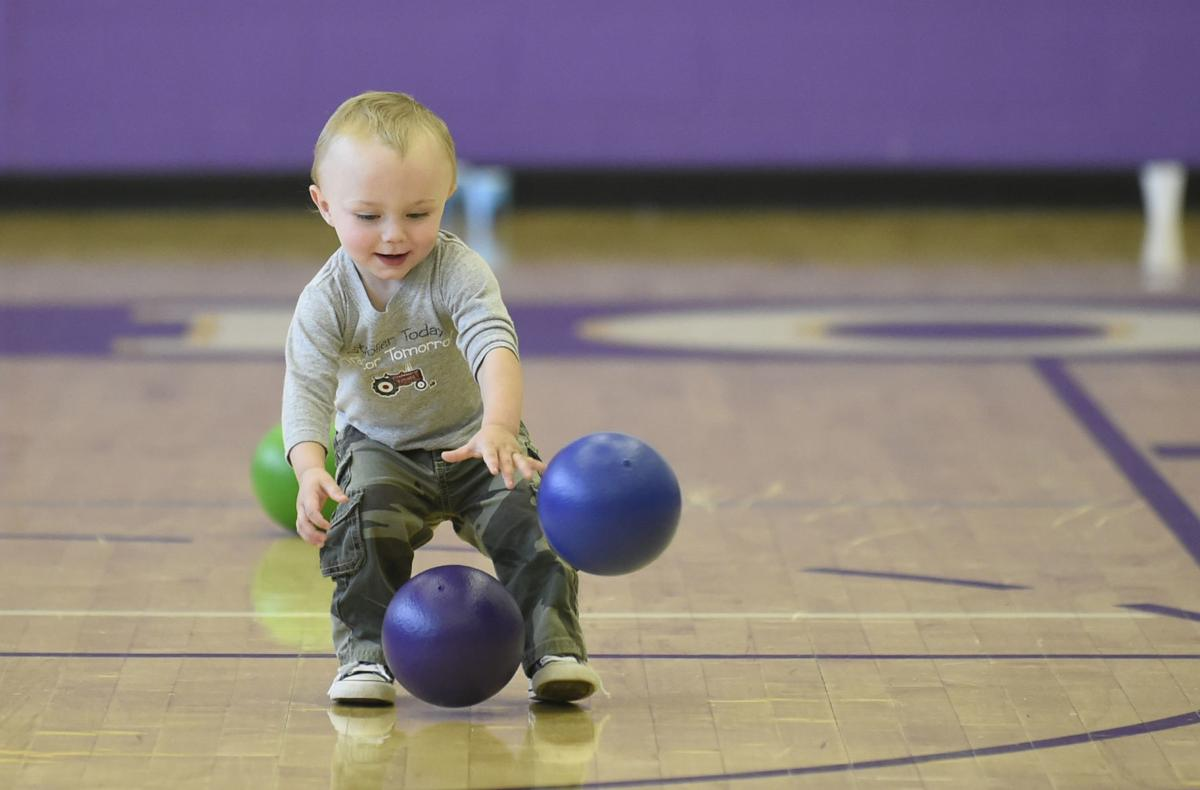 16-month-old Hunter King Wilson takes the dodgeball court
