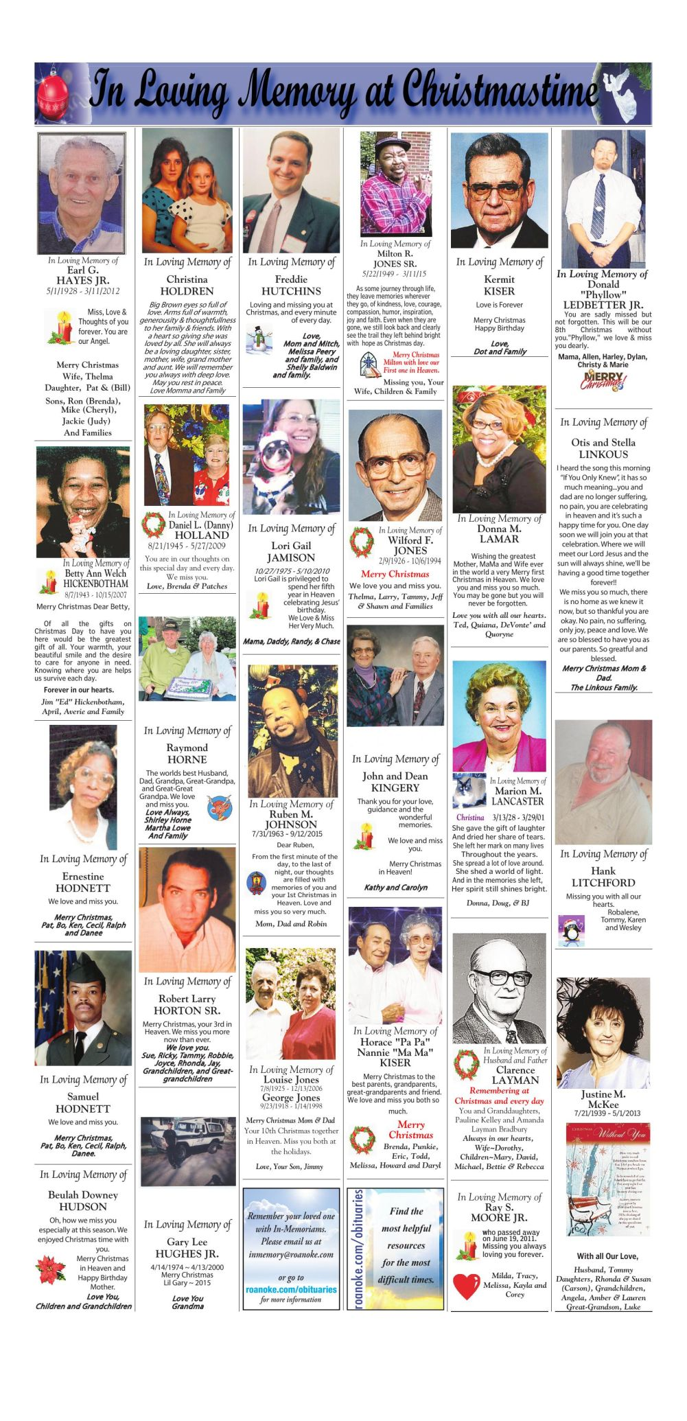 Christmas In Memory 2015 Page 3 | | roanoke.com