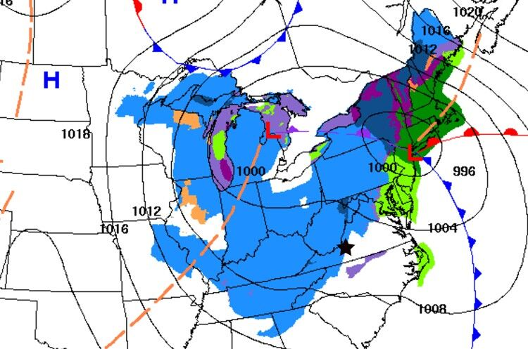 Weather map Saturday AM 011421