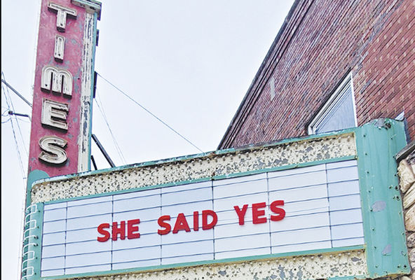 Times marquee used for marriage proposal