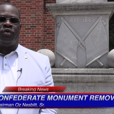 VIDEO: Rockdale County Chairman Oz Nesbitt, Sr. announces removal of the Confederate Monument located at the Courthouse