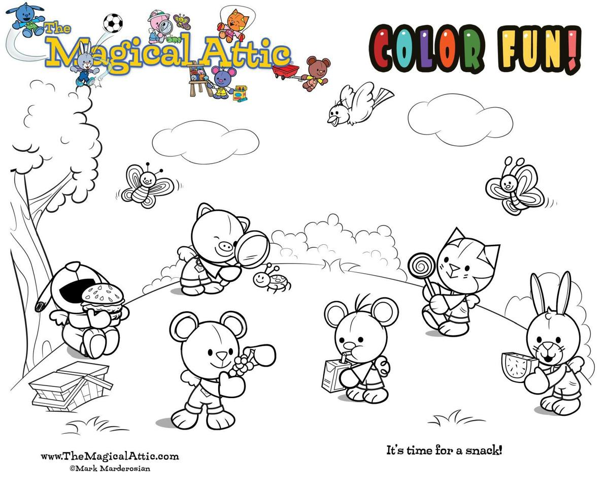 Coloring fun at snack time